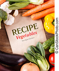 organique, espace, légumes, bois, fond, recipe., foo