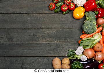organique, espace, légumes, text., nourriture., bois, fond