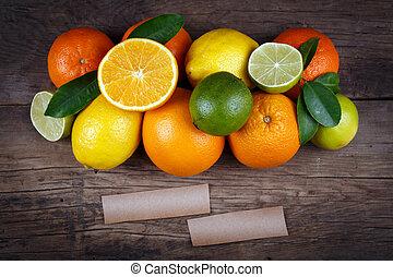 organique, espace, text., nourriture., bois, fond, fruits