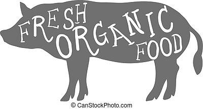 organique, ferme, pig., main, nourriture, vecteur, animal, dessiné, frais, lettering.
