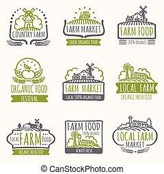 organique, ferme, vendange, étiquettes, signs., champ, vecteur, nourriture, frais, récolte, marché, retro