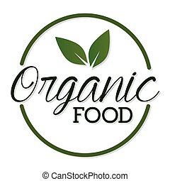 organique, feuille, sommet, lettrage, nourriture
