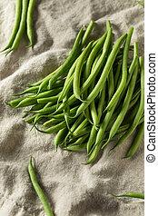 organique, ficelle, francais, cru, haricots verts