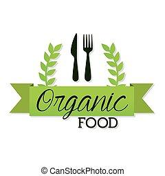 organique, fourchette, lettrage, nourriture, couteau