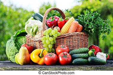 organique, jardin, assorti, osier, légumes, cru, panier