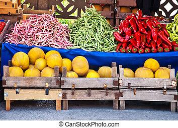 organique, légumes frais, fruits, rue marché