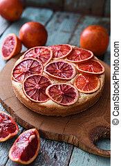 organique, orange, chêne, oranges, cru, fruit, planche, fait maison, gâteau, cake., sanguine