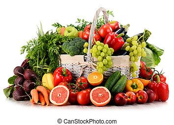 organique, osier, légumes, isolé, fruits, panier, blanc