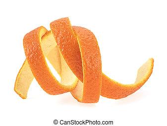 organique, peler, juteux, orange, skin., arrière-plan., séparé, blanc