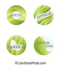 organique, vegan, naturel, products., frais, isolé, ensemble, vecteur, étiquettes, vert, conception, arrière-plan., eco, blanc