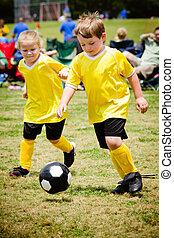 organisé, enfants, jeunesse, jeu, football, jouer