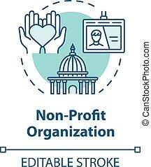 organisation, concept, icône, sans but lucratif