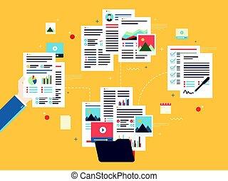 organisation, concept., paperasserie, business