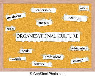 organisationnel, culture, concept, corkboard, mot