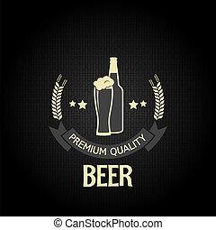 orge, bouteille, bière, conception, verre