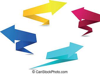 origami, bannières, flèche