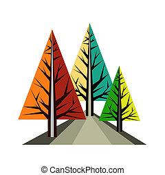 origami, paysage abstrait, arbres, illustration