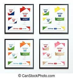 origami, style, ensemble, étiquette, ruban