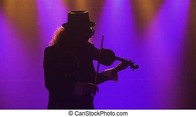 original, haut., retro, jeux, musicien, homme, silhouette., enfumé, exécute, studio, classique, lunettes bleues, sombre, complet, violin., lights., chapeau, concert, fin
