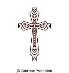orné, chrétien, croix, icône