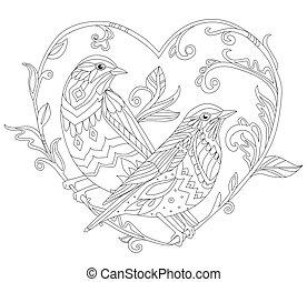 orné, couple, oiseaux, décoratif, séance, regarder, branche