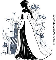orné, silhouette, mariée