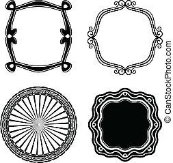 ornamental., cadre, vecteur, ensemble