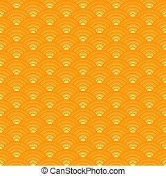 ornement, japonaise, jaune