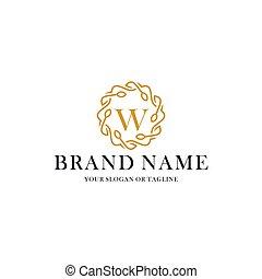 ornement, logo, w, initiale, luxe, lettre, vecteur, conception