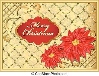 ornements, or, carte postale, fond, fleurs, noël