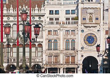 orologio, localisé, tour, italie, venise