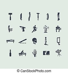 orthopédie, ensemble, icônes