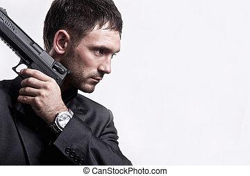 ortrait, fusil, jeune, fond, blanc, homme