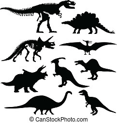 os, dinosaure, silhouette, squelette