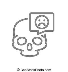 os, figure, bulle, triste, crâne, symbole, icon., parole, ligne, structure, crâne, tête