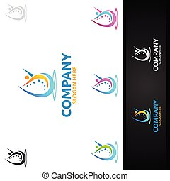 osteopathy, chiropraxie, masage, logo, douleur, dos, conception