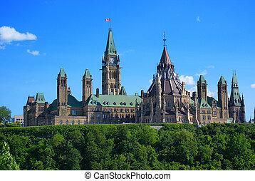 ottawa, -, colline parlement, canada