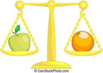 ou, équilibrage, comparer, pommes, oranges