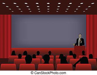 ou, ajouter, projection, conférence, business, texte, screen., foule, ton, présentation, personne, copie, audience., produit, vide, commercialisation, devant