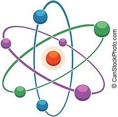 ou, atome, résumé, modèle, molécule, icône, vecteur, plat