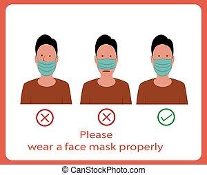 ou, avis, masque, recommandation, signe, usage, correctement