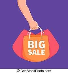 ou, bannière, sacs, vente, concept, annonce, grande main, tenue, élément, gabarit, achats
