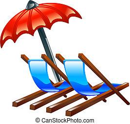ou, chaises plage, pont, parasol