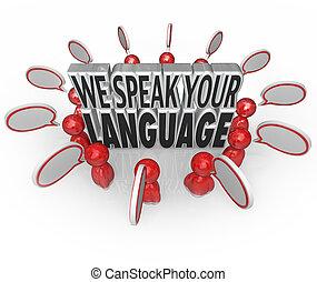 ou, clients, bon, langue, gens, techniques, communication, entouré, nous, compréhension, conversation, parole, mots, beaucoup, bulles, parler, ton, illustrer