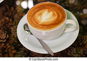 ou, coeur, cappuccino, latte, café, forme