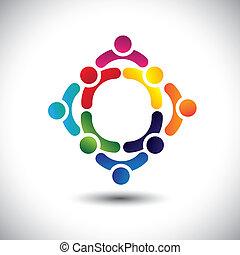 ou, coloré, jouer, bâtiment, aussi, amitié, vector., circles-, gens, enfants, &, boîte, multiple, équipe, icônes, ceci, illustration, activité, ensemble, groupe, représenter, concept, etc