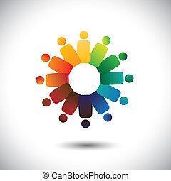 ou, communauté, coloré, jouer, aussi, employé, cercles, friendship-, ouvriers, solidarité, vecteur, &, graphic., représente, union, unité, children(kids), ceci, réunions, illustration, ensemble, concept, etc