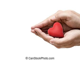 ou, concept, santé, hands., coeur rouge, amour, assurance