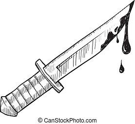 ou, couteau, meurtre, croquis