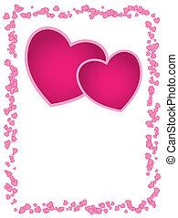 ou, day., espace, vide, mariage, carte, cœurs, salutation, vecteur, valentine, rose, anniversaire